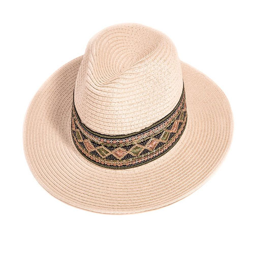 Ladies Straw Fedora Hat With Mirrored Band