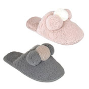 Ladies Plush Mule Slippers With Pom Pom