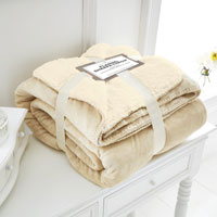 Cream Flannel Sherpa Throw
