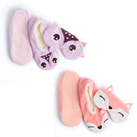 Ladies Cosy Owl/Fox Slipper Socks and Eye Mask Set
