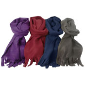 Ladies Fleece Scarf With Fringe Assorted