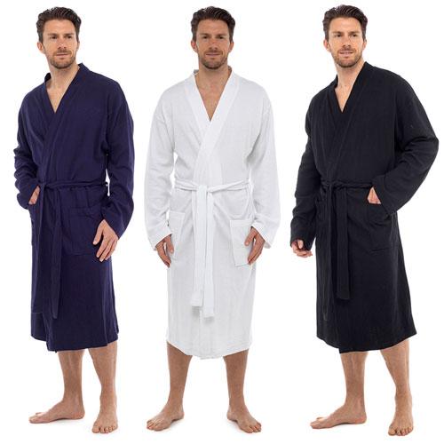 Mens Plain Colour Waffle Robe