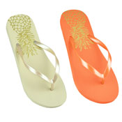 Ladies Golden Pineapple Print Flip Flop Natural/Coral