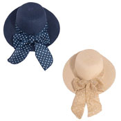Ladies Straw Wide Brim Hat With Spot Bow