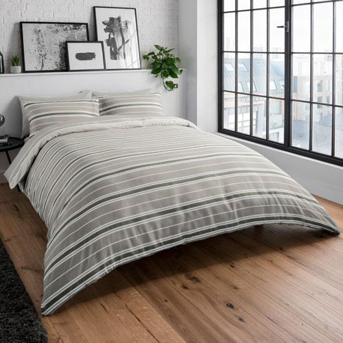 Banded Stripe Natural Reversible Duvet Set