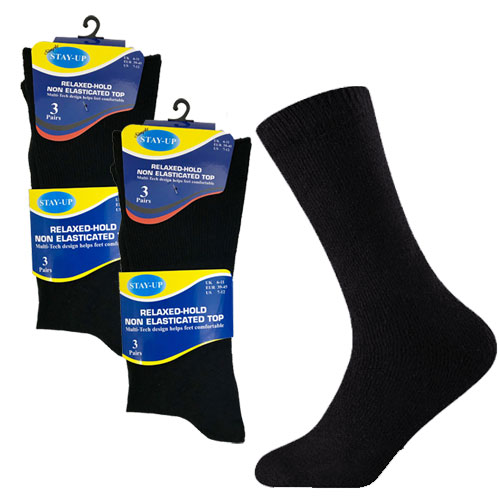 Mens Relaxed-Hold Non Elasticated Top Socks Black/Assorted