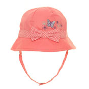 Baby Girl Bow And Butterflies Cotton Bush Hat With Strap