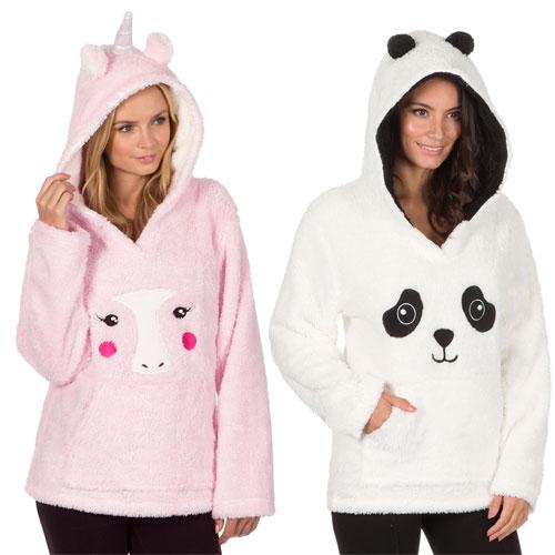 Ladies Flannel Snuggle Hooded Top Animal Prints