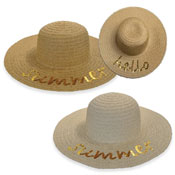 Ladies Hello Summer Sequin Wide Brim Hat