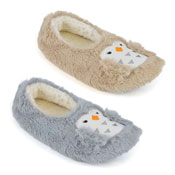 Ladies Soft Fleece Ballet Slippers Embroidered Owl