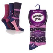 Ladies Gentle Grip Assorted Pattern Socks