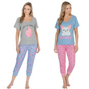 Ladies Pyjama Set Cupcakes/Bulldog