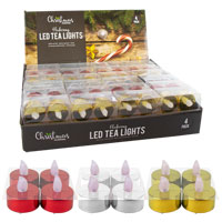 LED Metallic Flickering Tea Lights 4 Pack