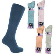 Ladies Long Length Wool Blend Socks