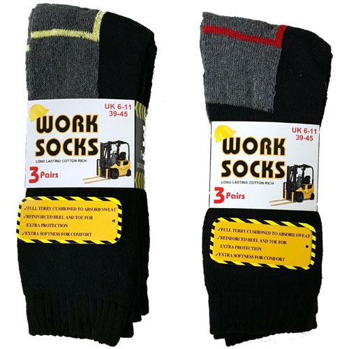 Mens Work Socks Coloured Heel and Toe CARTON PRICE