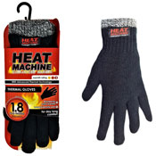 Mens Heat Machine Thermal Gloves Black