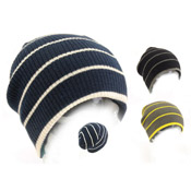 Childrens Stripe Slouch Beanie Hat