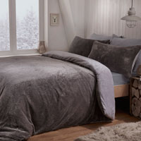 Cosy & Soft Waffle Fleece Reversible Duvet Set Grey