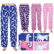 Ladies Unicorn/Llama Design Fleece Lounge Pants