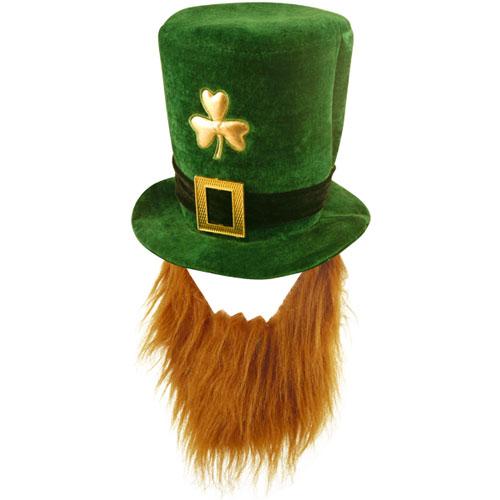 St Patrick's Day Deluxe Velvet Shamrock Hat With Beard