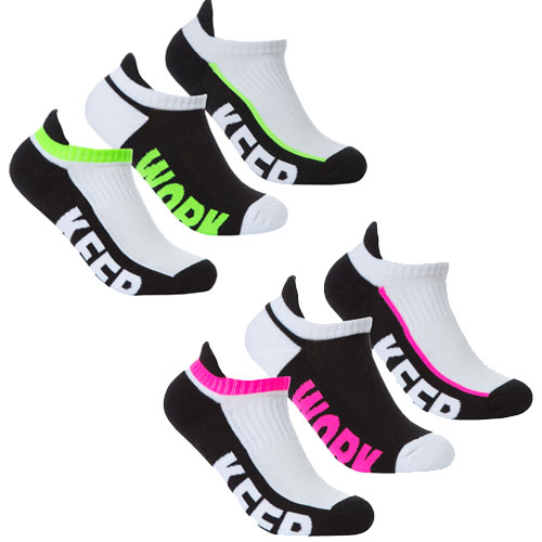 Ladies Low Cut Trainer Socks Keep Up/Work Out