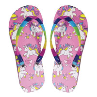 Girls Unicorn Print Flip Flops with Rainbow Strap