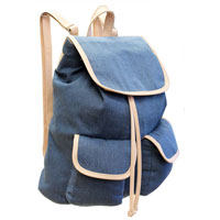 Contrast Edge Denim Look Rucksack Sky Blue Nude