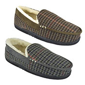 Mens Plush Checked Moccasin Slipper Shoes Brown/Grey