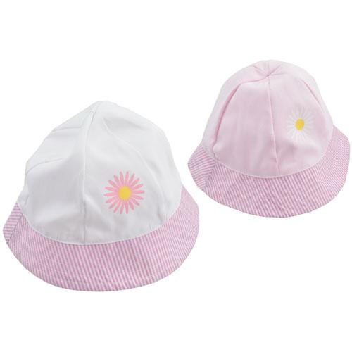 Kids Daisy Design Bucket Hat Pink/White