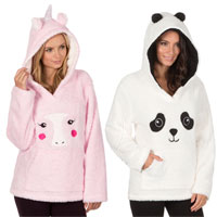 Ladies Flannel Snuggle Hooded Top Animal Prints