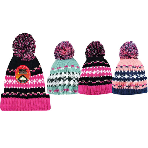 Girls Heat Machine Pom Pom Hats Patterned