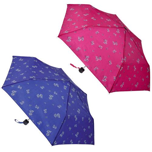 Supermini Butterfly Print Umbrella Navy/Magenta