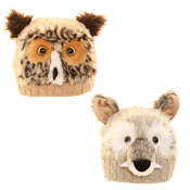 Adult Novelty Animal Beanie Owl/Wolf