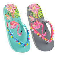 Girls Flamingo Flip Flops with Pompoms