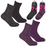 Girls 2 Pack Glitter Cosy Socks