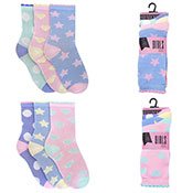 Girls Heart & Star Design 3 Pack Socks