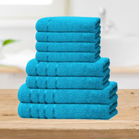 Bear & Panda 8 Piece Cotton Towel Bale Teal