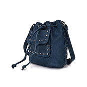 Danni Stud Pocket Bucket Bag Navy Blue