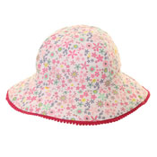 Girls Cotton Wide Brim Flower Print Hat