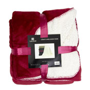 Luxury Flannel Sherpa Throw Red
