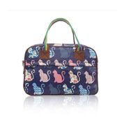 Ladies Kitty Day Canvas Weekend Bag Dark Blue