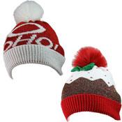 Childrens Christmas Design Bobble Hat With Pom Pom