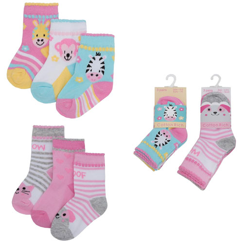 Baby Animal Design Cotton Rich Socks