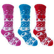 Ladies Hearts & Bow Slipper Socks Pattern