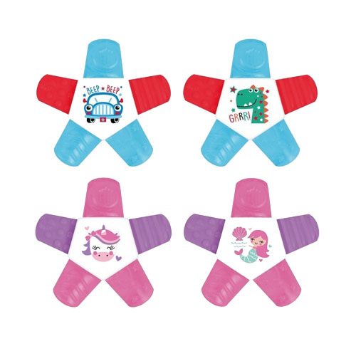 2 Colour Water Filled Star Teether Rings
