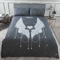 Angel Wing Panel Duvet Set Grey