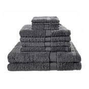 10 Piece Luxury Towel Bale Set With Ribbon Grey