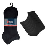 Mens Black Trainer Socks 5 Pack