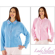 Ladies Button Through Bed Jacket With Embroidery