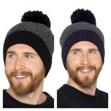 Mens Lined Striped Bobble Hat
